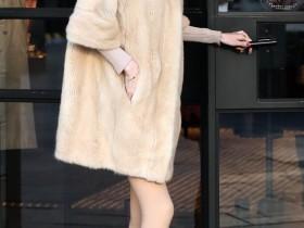 美术馆街拍:皮草美女,华丽、贵气、时尚范儿