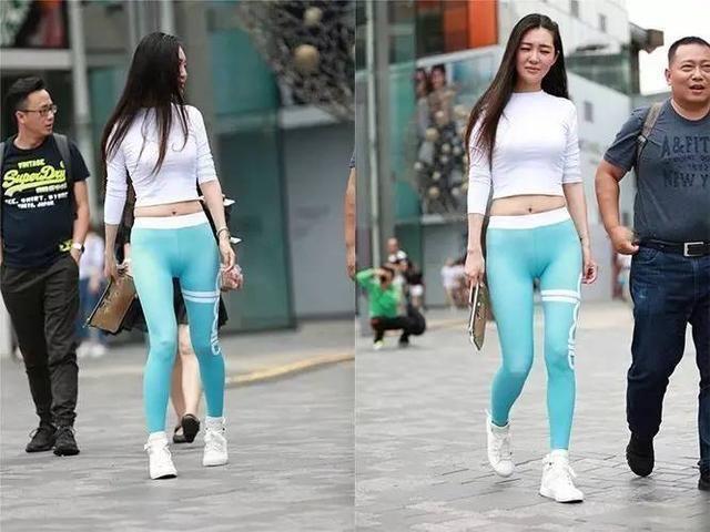 3a街拍穿蜜桃裤的美女存在的误区,不是穿上行